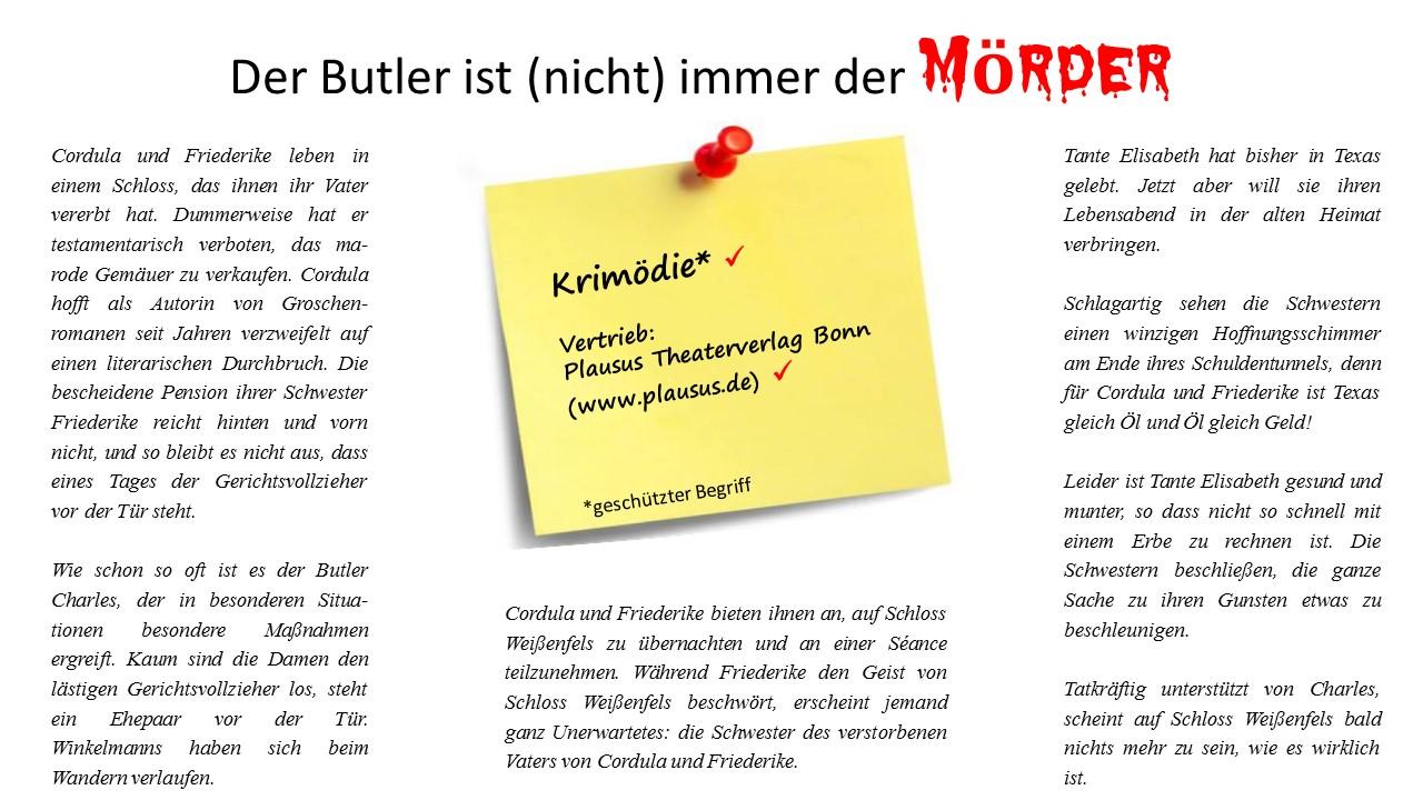 Der Butler ist nicht immer der Mörder